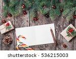 christmas letter on wooden... | Shutterstock . vector #536215003