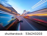 night city fast drive by car | Shutterstock . vector #536243203