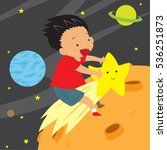 boy riding on shooting star to... | Shutterstock .eps vector #536251873