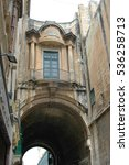Small photo of Air passage between buildings, in the historic center of Valletta, Malta