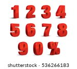 3D Red Metallic Letter. 0, 1, 2, 3, 4, 5, 6, 7, 8, 9 numeral alphabet. Vector Isolated Number. | Shutterstock vector #536266183