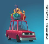 cartoons car with christmas...   Shutterstock .eps vector #536268553