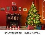 beautiful christmas living room ... | Shutterstock . vector #536272963