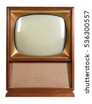Small photo of Vintage television isolated over white background