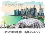sketch cityscape of singapore...   Shutterstock .eps vector #536302777