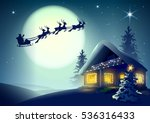 silhouette santa claus and... | Shutterstock .eps vector #536316433