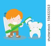 boy brushing dirty tooth with... | Shutterstock .eps vector #536322313