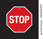 a vector stop sign on a simple... | Shutterstock .eps vector #536326957