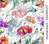 poppy watercolor seamless... | Shutterstock . vector #536334157