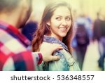 young man stops a beautiful... | Shutterstock . vector #536348557