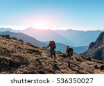 two hikers with backpacks and... | Shutterstock . vector #536350027