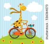 giraffe and bird riding on... | Shutterstock .eps vector #536364073