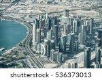Stock photo doha qatar stunning aerial view 536373013