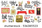 christmas and new year hand... | Shutterstock .eps vector #536385523