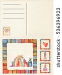 hand drawn back postcard with...   Shutterstock . vector #536396923