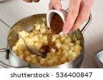 pouring cinnamon powder into...   Shutterstock . vector #536400847