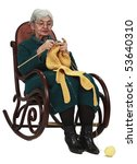 Image of an old woman sitting on a rocker and knitting, isolated against a white background. - stock photo