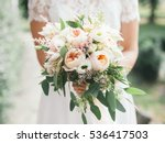wedding bouquet in bride's... | Shutterstock . vector #536417503
