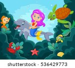 happy little mermaid playing in ... | Shutterstock .eps vector #536429773