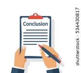 businessman writes conclusion ... | Shutterstock .eps vector #536430817