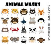 animal mask flat icon set | Shutterstock .eps vector #536431447