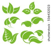 green leaves vector set... | Shutterstock .eps vector #536432023