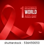 realistic red ribbon  world... | Shutterstock . vector #536450053