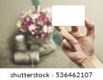 hold card on vintage flowers on ... | Shutterstock . vector #536462107