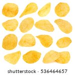 Potato Chips Closeup Isolated...