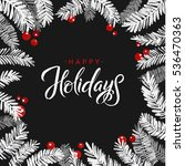 merry christmas fir tree card.... | Shutterstock .eps vector #536470363