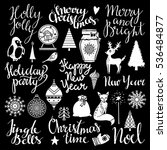 christmas and new year hand... | Shutterstock .eps vector #536484877