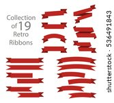 ribbon set red colored on white ... | Shutterstock .eps vector #536491843