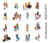 travel people isometric icons... | Shutterstock .eps vector #536514577
