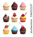 set cupcakes on a white... | Shutterstock .eps vector #536522137