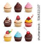 Set Cupcakes On A White...
