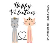 happy valentines day card with... | Shutterstock .eps vector #536529607