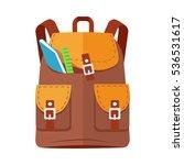 brown backpack schoolbag icon... | Shutterstock . vector #536531617