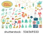 big christmas set. vector... | Shutterstock .eps vector #536569333