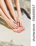 pretty woman feet and hands... | Shutterstock . vector #536600017