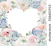 Elegant Valentines day heart frame of watercolor flowers isolated on white background.It can be used for wedding cards and invitations, mothers day and birthday card. It's perfect for valentines card.