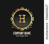 h letter logo  golden monogram... | Shutterstock .eps vector #536602627