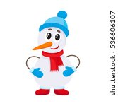 cute and funny little snowman... | Shutterstock .eps vector #536606107
