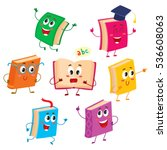 set of funny book characters ... | Shutterstock .eps vector #536608063
