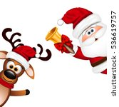 funny santa and reindeer on... | Shutterstock .eps vector #536619757