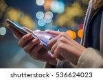 woman using smartphone on... | Shutterstock . vector #536624023