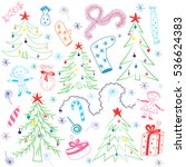 colorful children drawings of ... | Shutterstock .eps vector #536624383