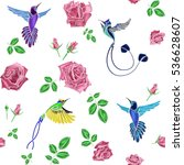 rose and bird embroidery.... | Shutterstock .eps vector #536628607