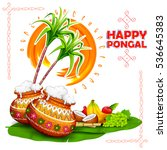illustration of happy pongal... | Shutterstock .eps vector #536645383