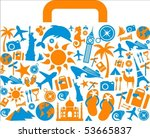 travel suitcase with many...   Shutterstock .eps vector #53665837
