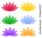 flat lotos flowers on color... | Shutterstock .eps vector #536662027